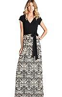 Bon Rosy Women's Short Sleeve V-Neck Floral Maxi Bohemian Wrap Dress