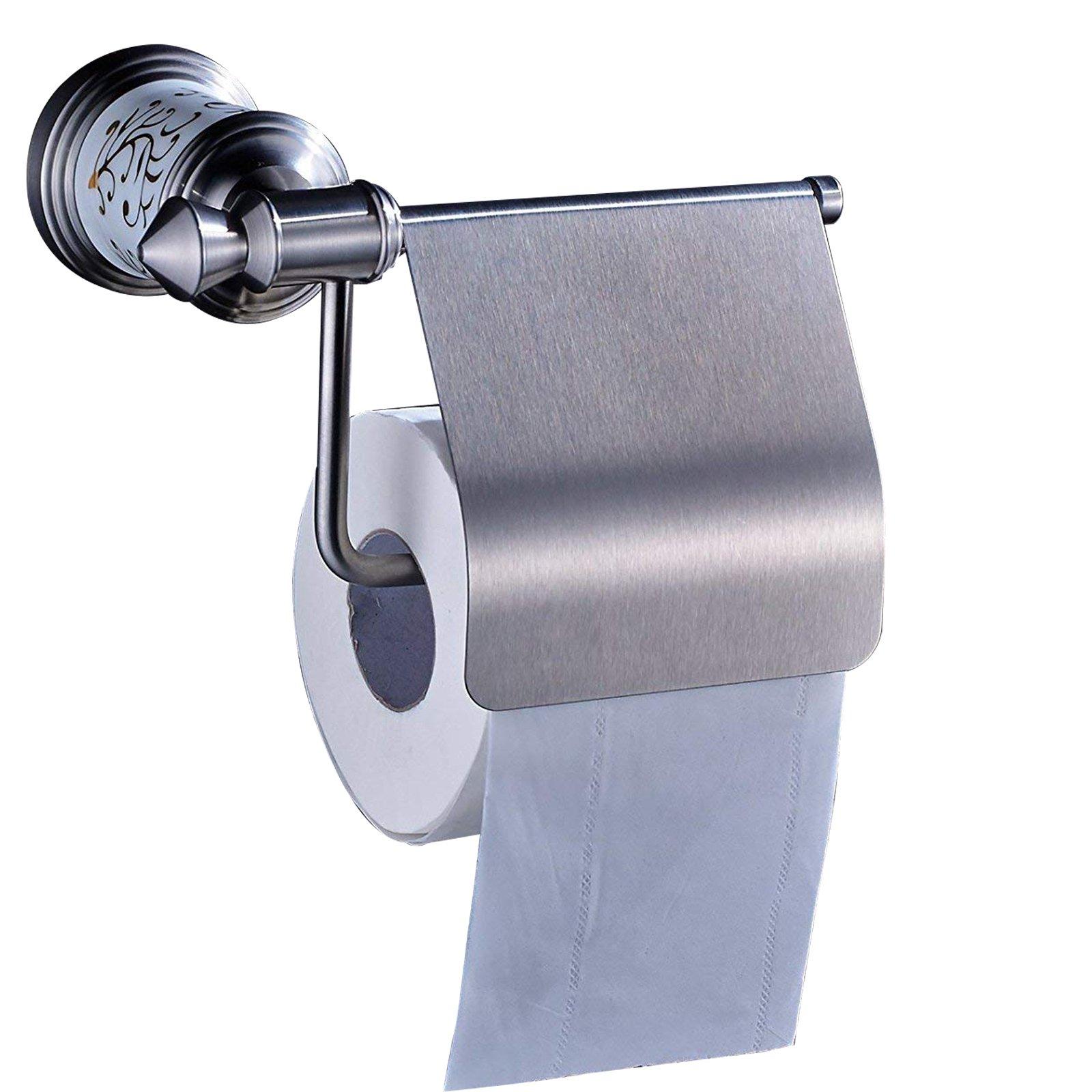 Votamuta New Toilet Paper Holder Storage Bathroom Kitchen Paper Towel Dispenser Tissue Roll Hanger Wall Mount, Stainless Steel Brushed Nickel