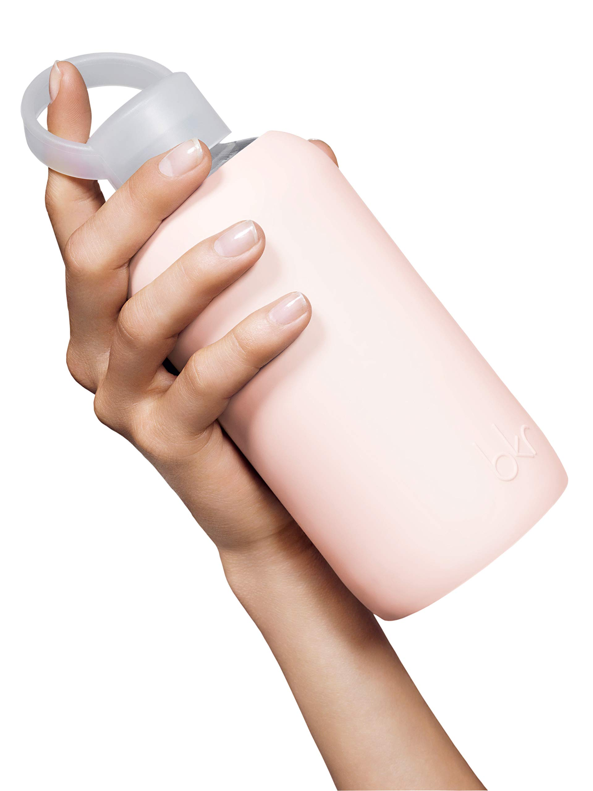 bkr Tutu Glass Water Bottle with Smooth Silicone Sleeve for Travel, Narrow Mouth, BPA-Free & Dishwasher Safe, Opaque Ballet Pale Peachy Pink, 16 oz / 500 mL by bkr (Image #6)