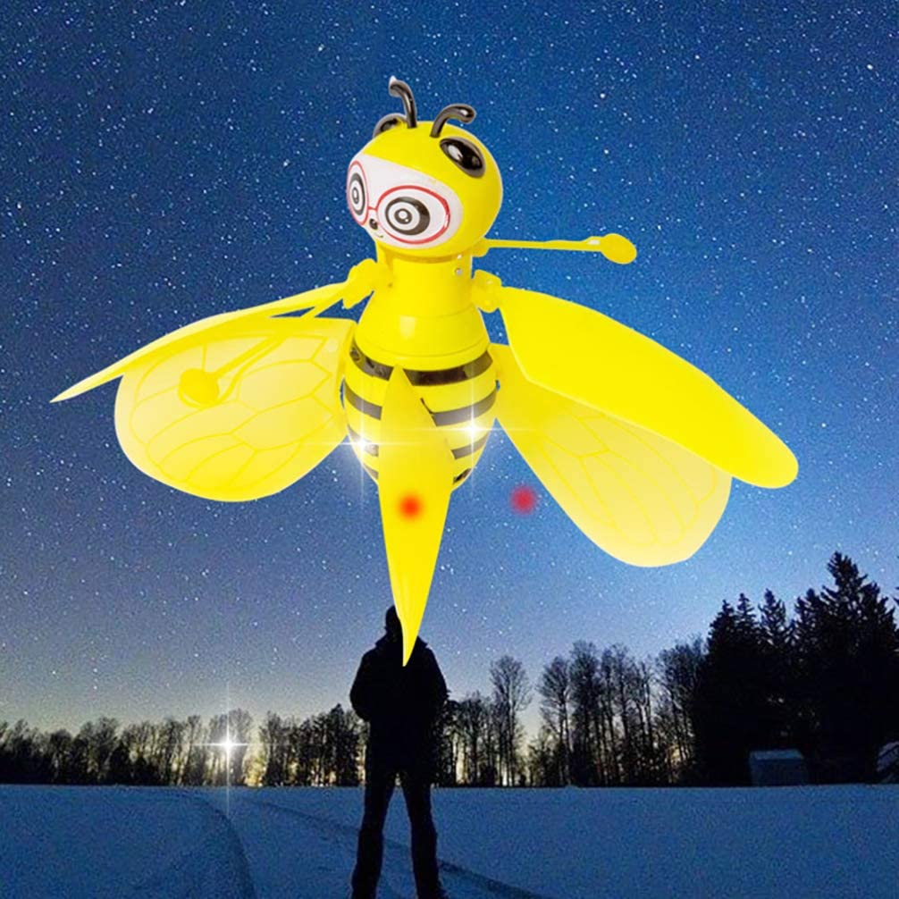 Amosfun Flying Ball Toys Bee Flying RC Toy for Kids Boys Girls Gifts Rechargeable Light Up Drone Induction Helicopter with Remote Controller for Indoor and Outdoor Christmas Games