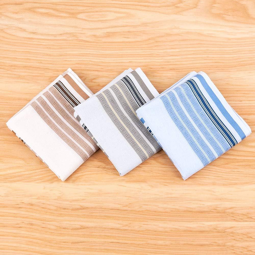 Houlife 100/% Cotton Mens Stripe Soft Checkered Pattern Handkerchiefs Assorted Hankies 3 Pieces 17x17