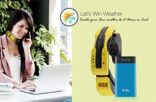DOEL Personal AC Portable Electric Scarf Warming and Cooling Air Conditioner Body Temperature Adjusting Gadget with 7800mAh Power Bank (Yellow) at amazon