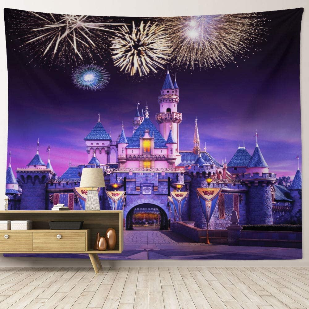 """HIYOO Home Wall Hanging Fabric Tapestry, Fairyland Disney Tapestry Wall Art, Decor for Children Kids Baby Dorm Room, Bedroom, Birthday Party Background - Disneyland Castle Fireworks Night 90""""W x 71""""L"""