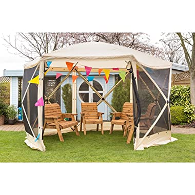 Screen House Instant Gazebo Folding Quick Pop Up Canopy Escape Shelters 6 Sided