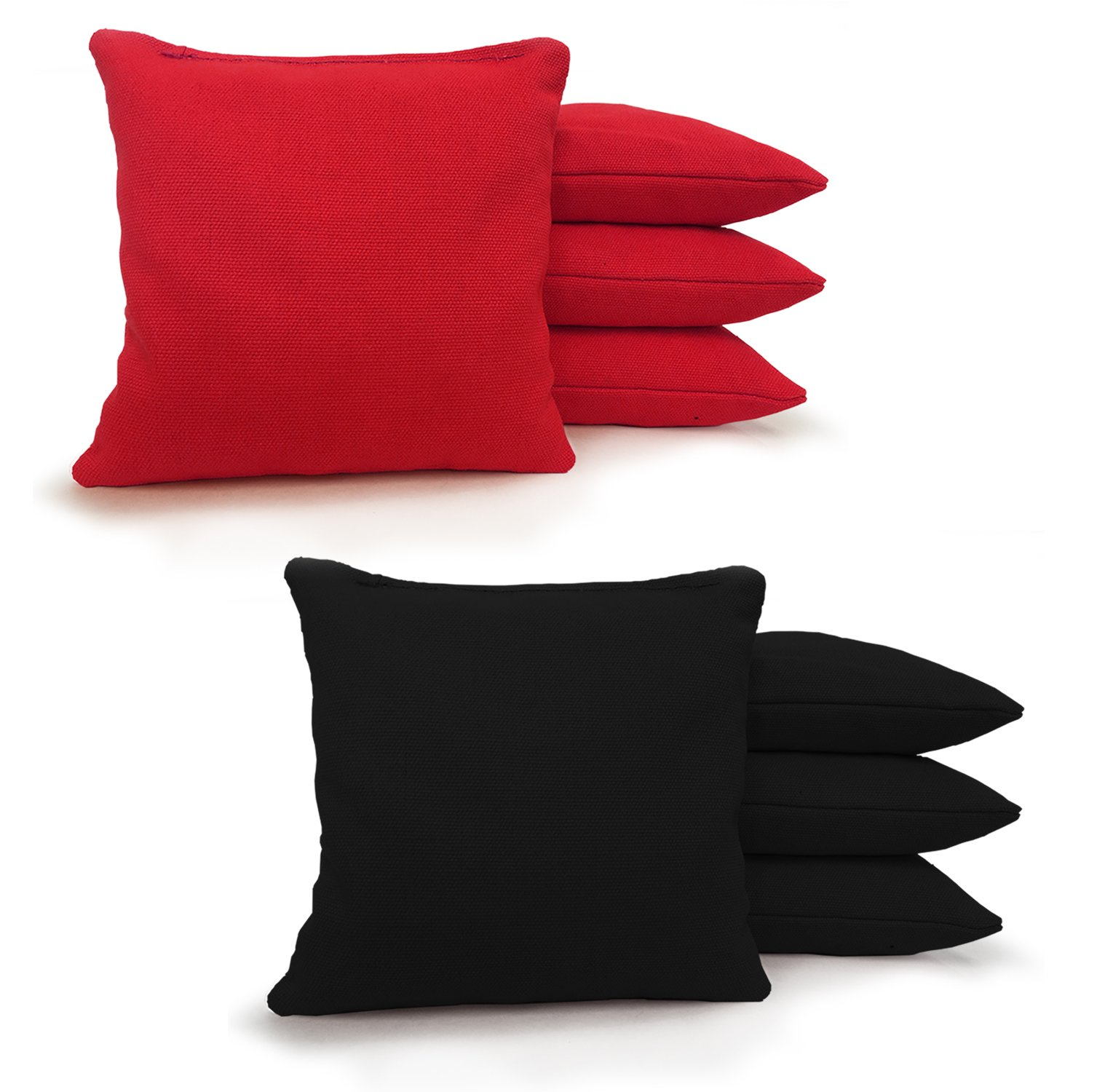 8 Standard Corn Filled Regulation 6''x6'' Duck Cloth Cornhole Bags! (Black/Red)