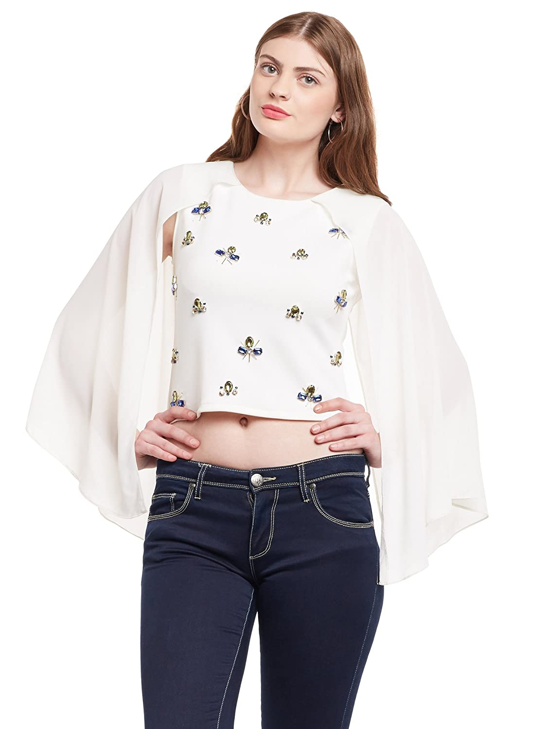 600e0f79af5e6 Martini Women Off White Embellished Cape Sleeve Party Crop Top  Amazon.in   Clothing   Accessories