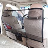 Car Pet Barrier Safety Net for Dog, FREESOO Vehicle Universal Mesh Fence Safety Barrier Durable Travel Blocks Dogs Access To Car Front Seats