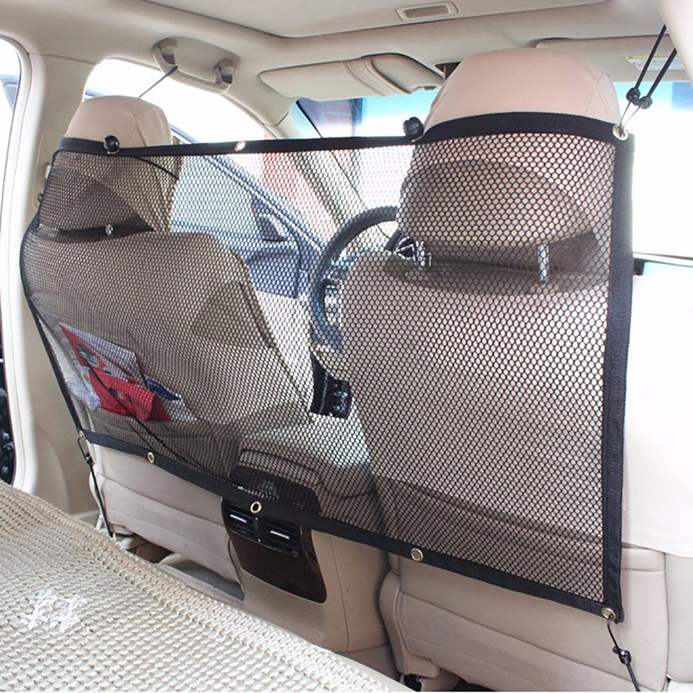 FREESOO Car Pet Barrier Safety Net for Dog, Vehicle Universal Mesh Fence Safety Barrier Durable Travel Blocks Dogs Access To Car Front Seats