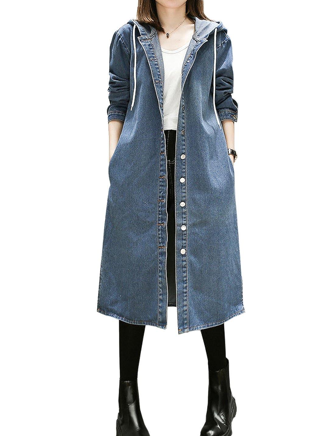 Flygo Women's Plus Size Hoodie Long Denim Trench Coat Jacket Windbreaker
