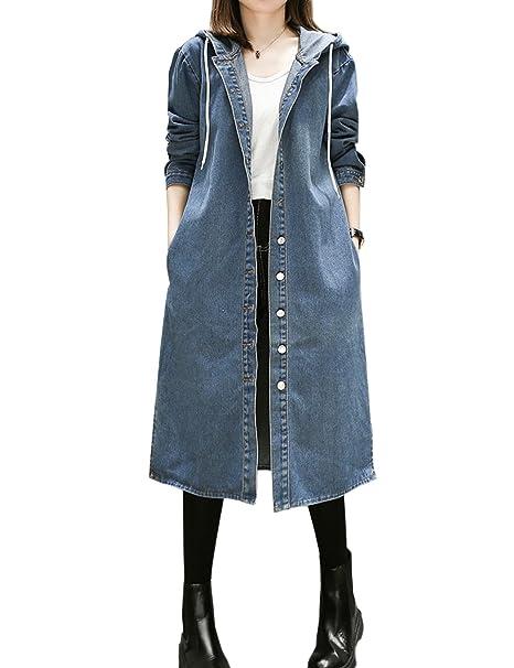Tarkista vähittäishinnat lenkkitossut Flygo Women's Plus Size Hooded Long Denim Trench Coat Jacket ...