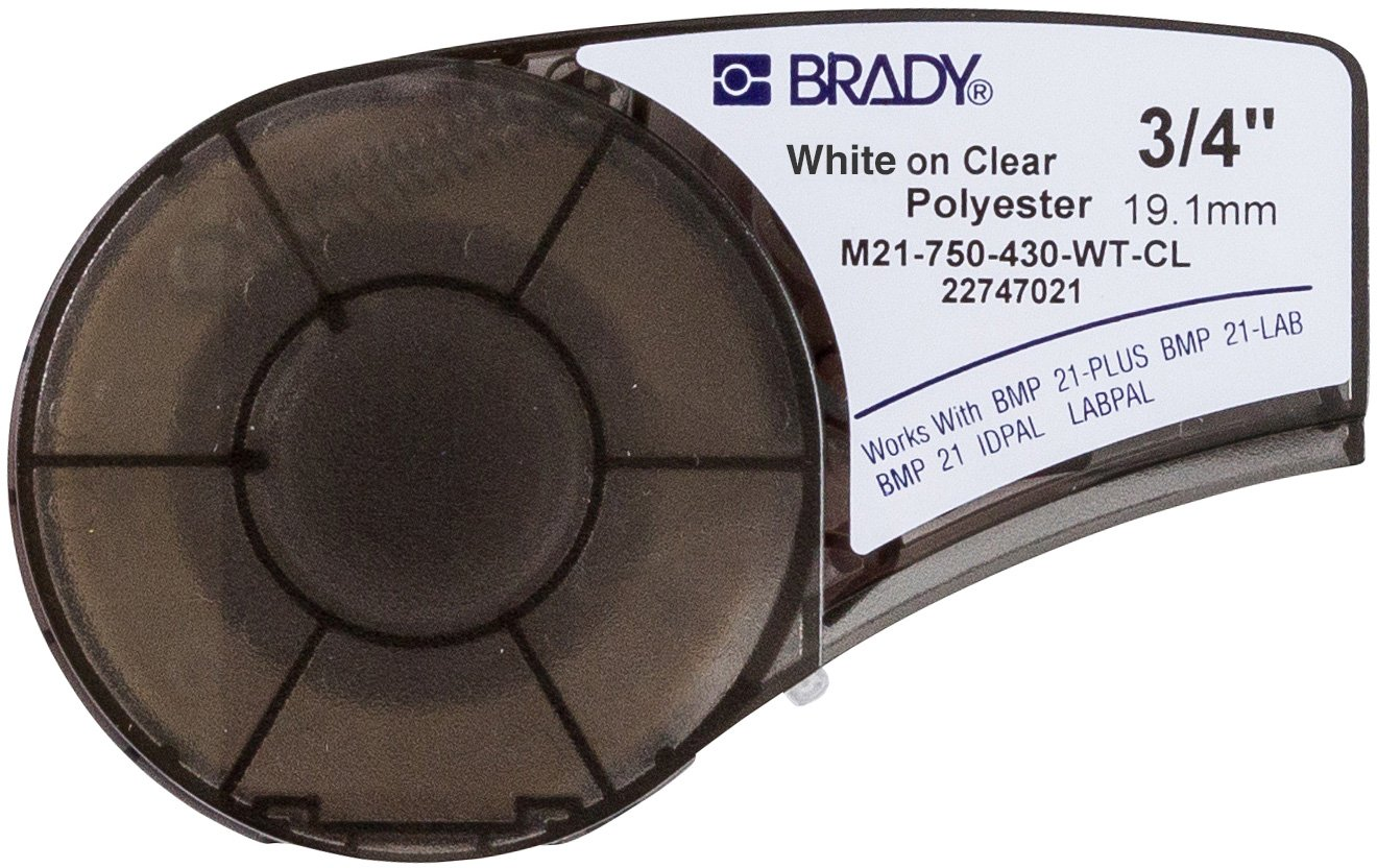 Brady M21-750-430-WT-CL Cartridge, B430 Clear Polyester Material, 0.75'' W x 21' L, Clear