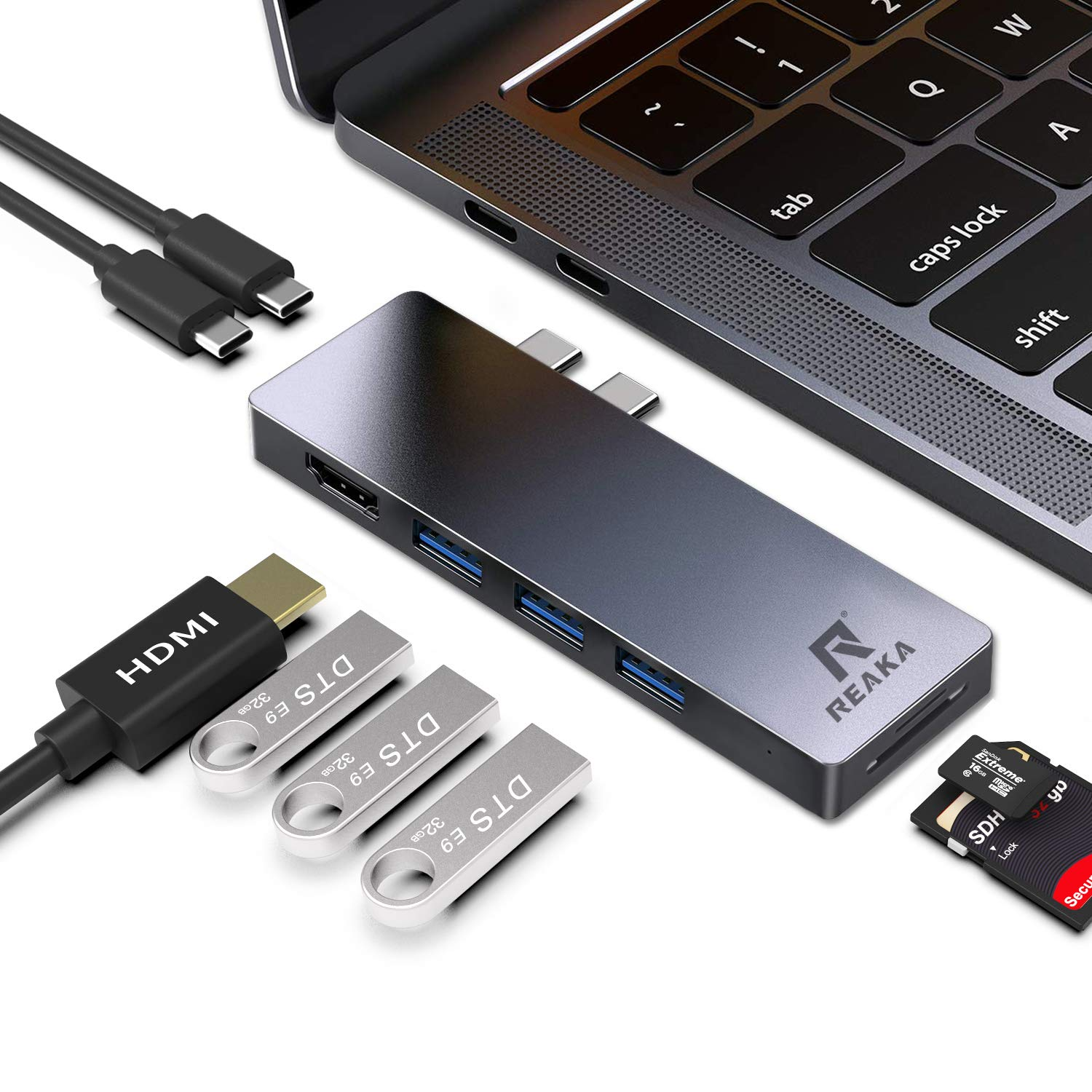 USB C Hub Adapter Dock for Apple MacBook Pro2019.2018,2017 13/15inch,MacBook Air2018 13 inch Dongle,HDMI 4K,100W Power Delivery,40Gbps Thunderbolt 3 5K@60Hz,2 USB 3.0, SD/TF Card Reader,USB C Port by RREAKA