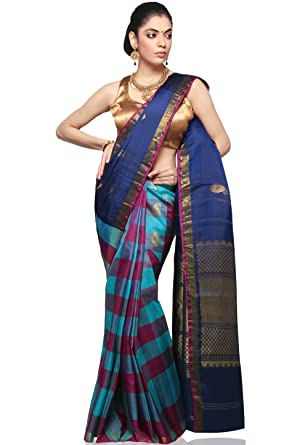 12dcda9c2ab86a Utsav Fashion Women's Navy Blue and Magenta Pure Kanchipuram Handloom Silk  Saree with Blouse: Amazon.in: Clothing & Accessories