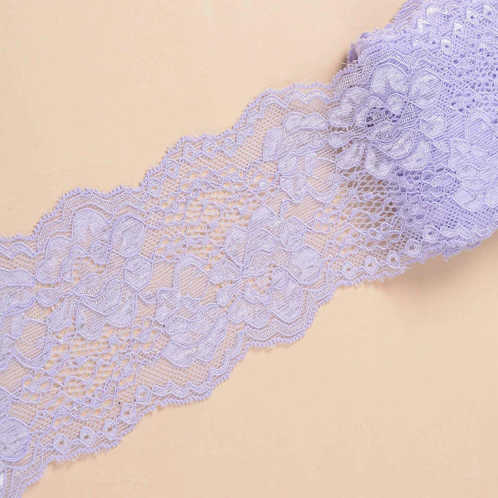 Black 10 Yards Stretch Lace Ribbon Trim 3 inch Floral Pattern Lace Elastic for Headbands Garters Sewing Decorat Craft Supply