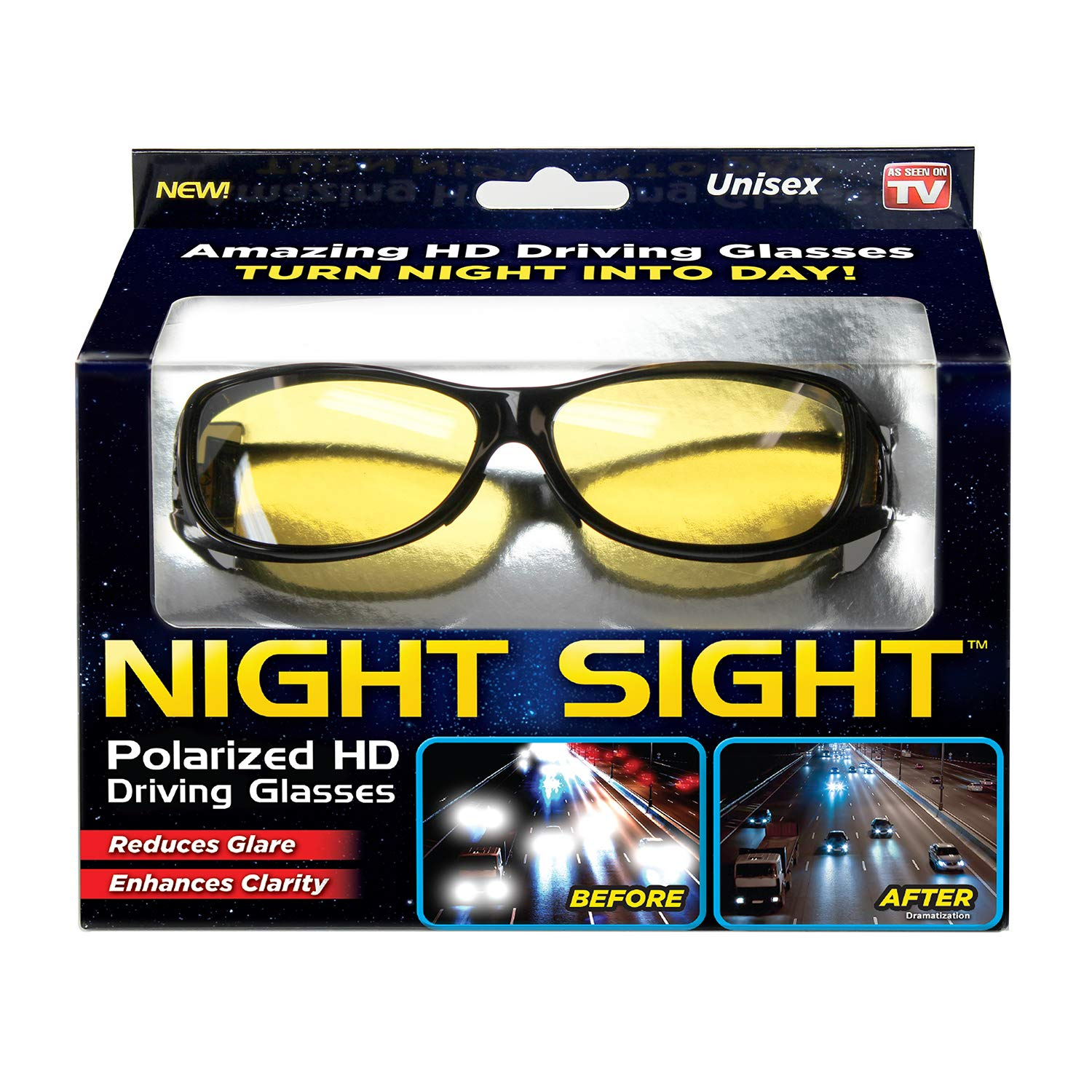 Ontel Night Sight, Hd Polarized Night Vision Driving Sunglasses, Men & Women, Anti Glare, as Seen On Tv