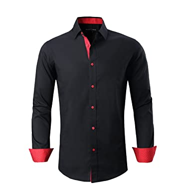 a9832f387ff7 Alex Vando Mens Dress Shirts Regular Fit Long Sleeve Men Shirt(Black,Small)