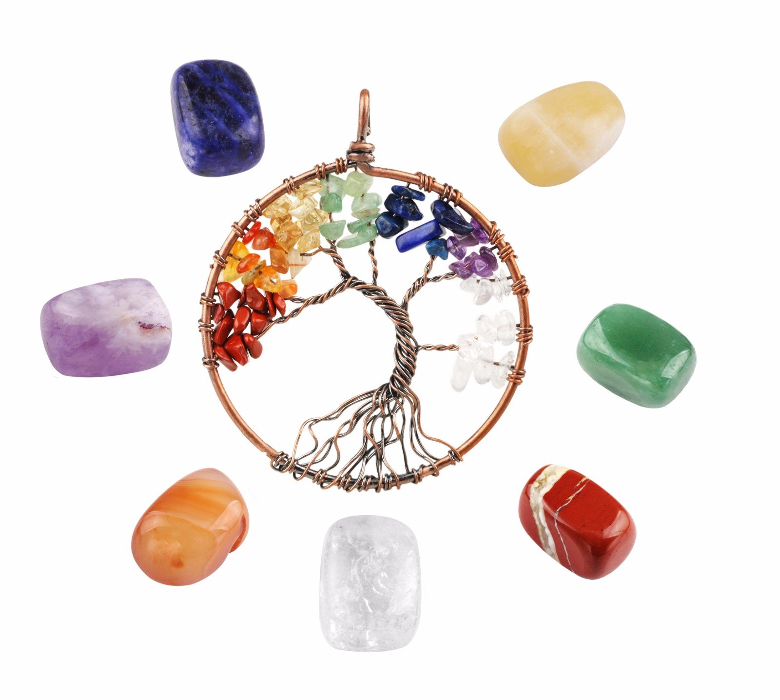 rockcloud Healing Crystal Kit,7 Chakra Stones & Tree of Life Pendant Set