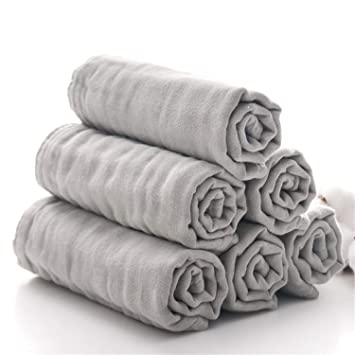 Grey Set of 6 Muslin Face Towels for Newborn,Ultra Soft Wash Cloths for Babies Baby Wipes for Baby Sensitive Skin Perfect Baby Shower Gift.12X12 Baby Bath Washcloths by MUKIN