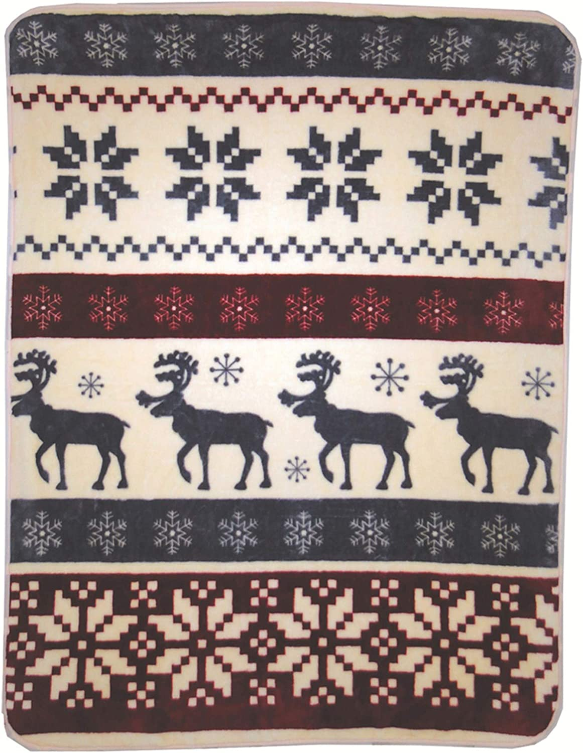 Shavel Home Products Luxury Hi Pile Oversized Throw, 60x80, Reindeer Stripe