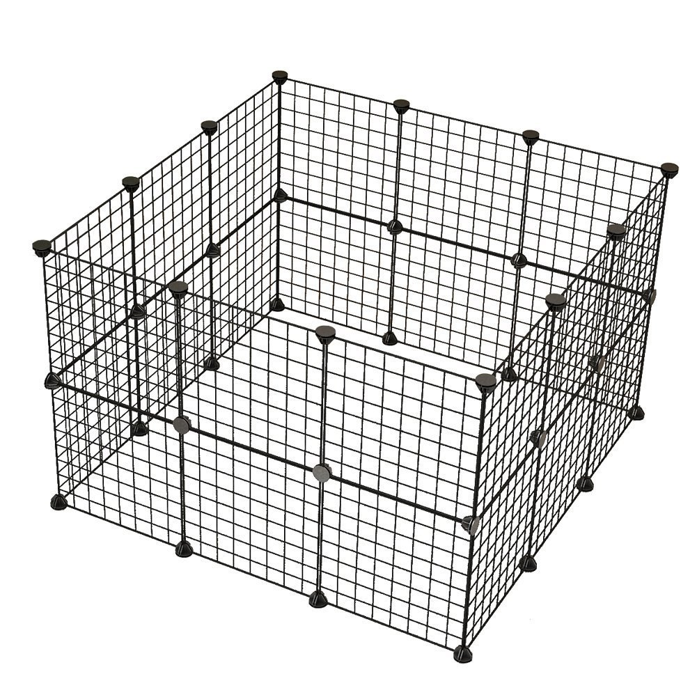 JYYG Pet Playpen, Small Animal Cage Indoor Portable Metal Wire Yard Fence for Small Animals, Guinea Pigs, Rabbits Kennel Crate Fence Tent, Black,24 Panels by JYYG