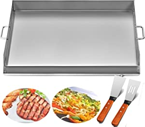 Happybuy Universal Flat Top Griddle 32x17 inches Stainless Steel Flat Top Griddle Plancha Comal BBQ Griddle with Handles for Restaurant or Home Use