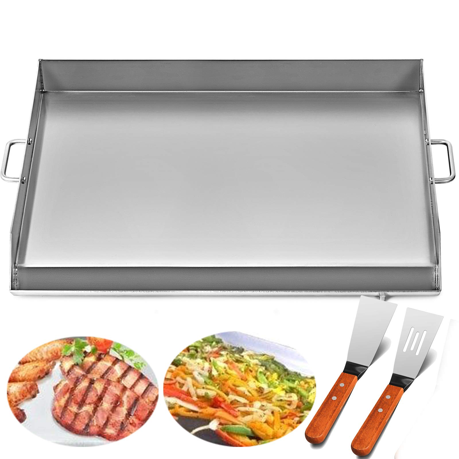 Happybuy Universal Flat Top Griddle 32''x17'' Stainless Steel Flat Top Griddle Plancha Comal BBQ Griddle with Handles for Restaurant or Home Use