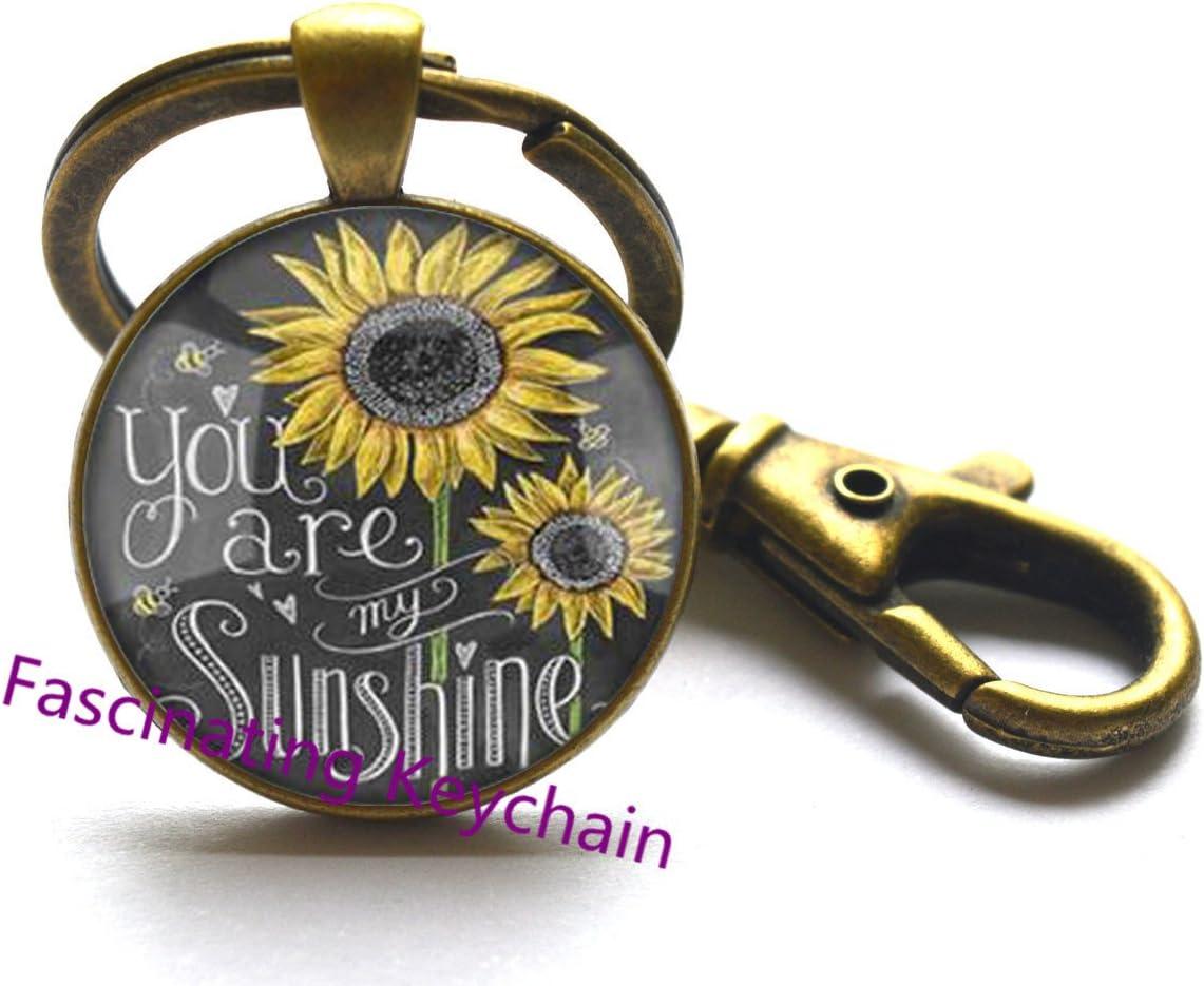 Sunflower Keychain SMALL Sunflower Jewelry Sunflower Key Ring Silver Sunflower Charm Flower Keychain Bridesmaid Keychain Flower Girl Gift,AE0107