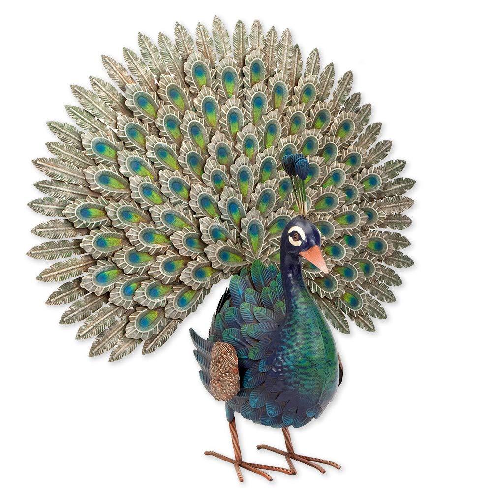 Bits and Pieces - Elegant Peacock Metal Garden Sculpture - Indoor and Outdoor Décor