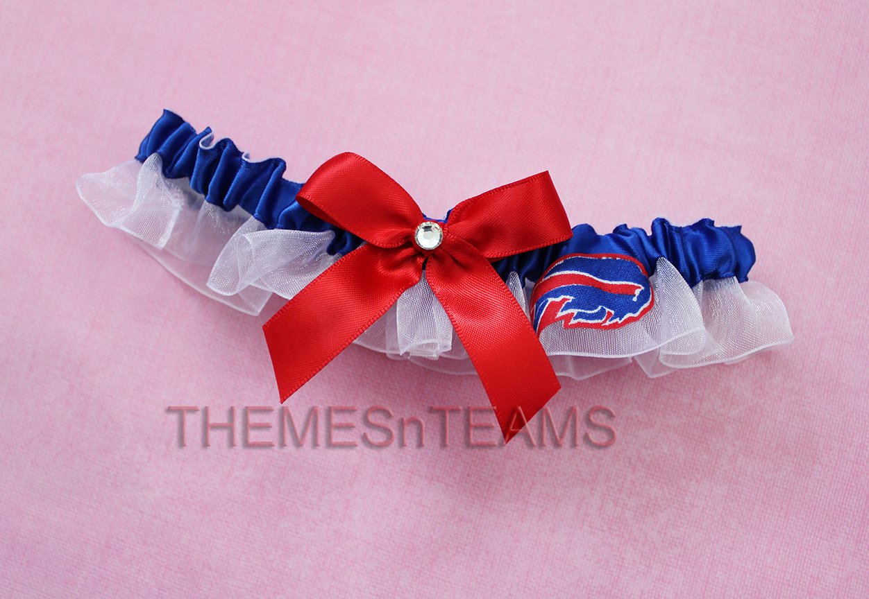 Customizable - Buffalo Bills fabric handmade into bridal prom organza wedding thin garter TNT