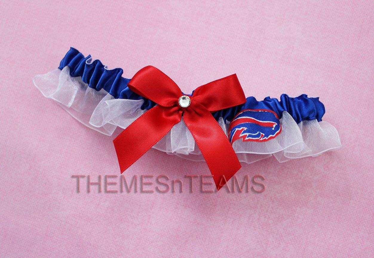 Customizable - Buffalo Bills fabric handmade into bridal prom organza wedding thin garter TNT