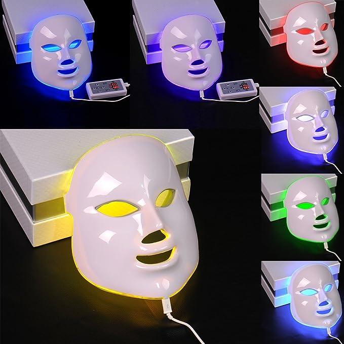 Fotones LED Máscara facial de la piel rejuvenecimiento de la terapia de la belleza 7 colores de luz con enchufe europeo: Amazon.es: Belleza