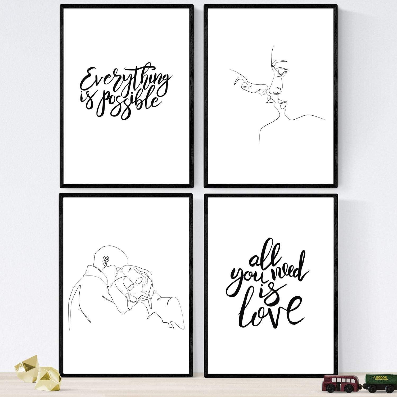 Nacnic Set de láminas con Mensajes Felices y Dibujos a un Solo Trazo. Pack de Posters 'Todo es Posible'. Tamaño A4 sin Marco