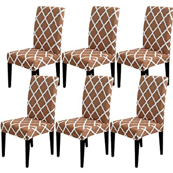 SearchI Dining Room Chair Covers Slipcovers Set of 6, Spandex Fabric Fit  Stretch Removable Washable Short Parsons Kitchen Chair Covers Protector for  ...