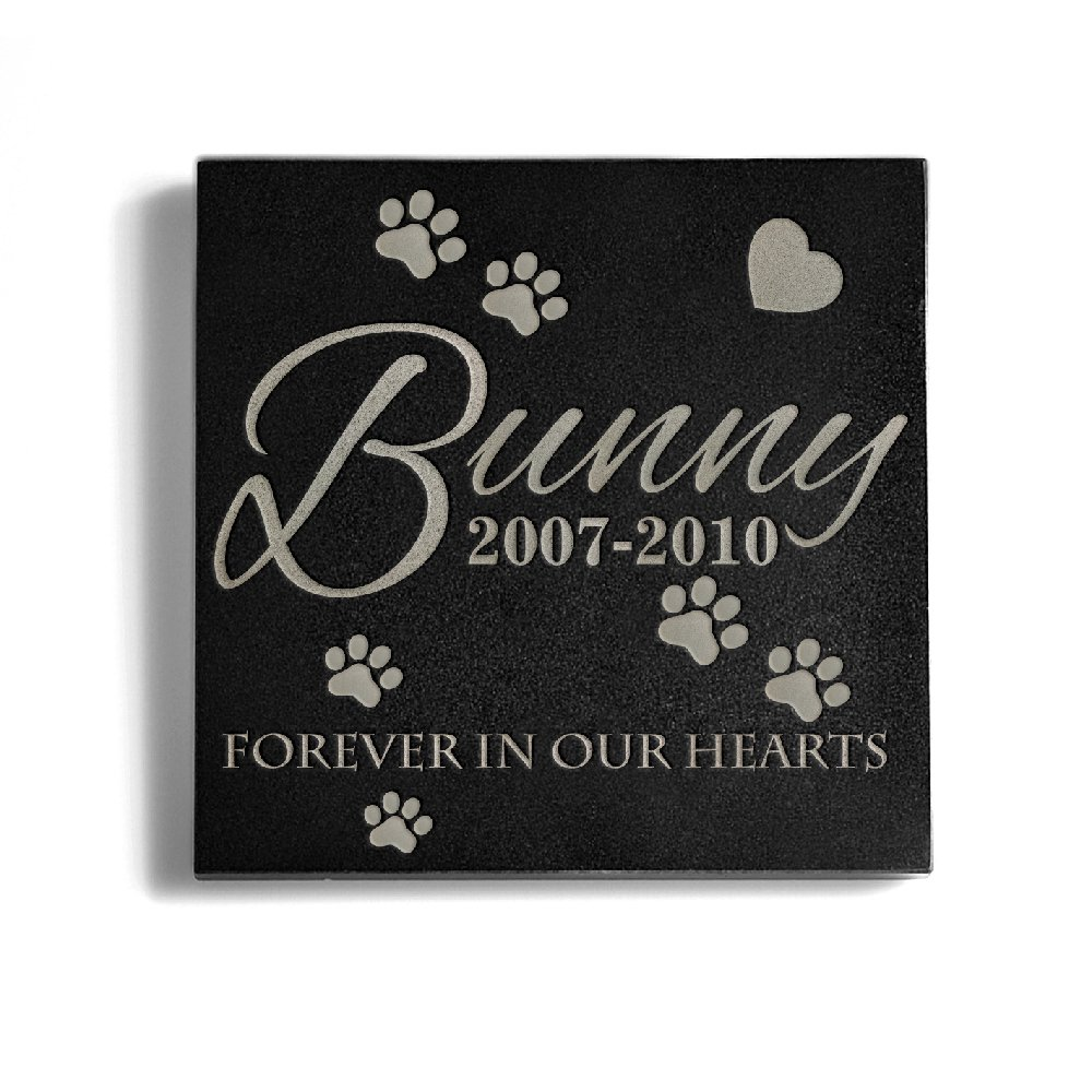 a Personalized Memorial Pet Headstone Customized - Forever in Our Hearts - 6 x 6 Granite by a