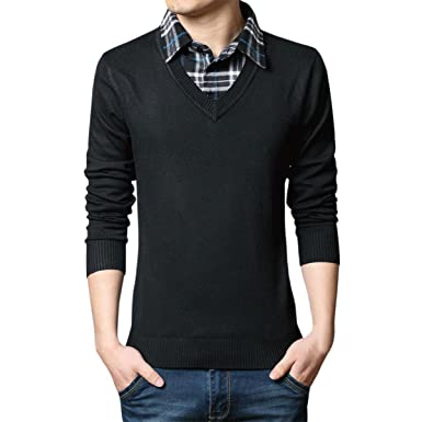 a9f5b95d8870 Pishon Men's V Neck Sweaters Fake Collar Sweater Casual Pullover Mens  Knitwear, Black, X. Roll over ...