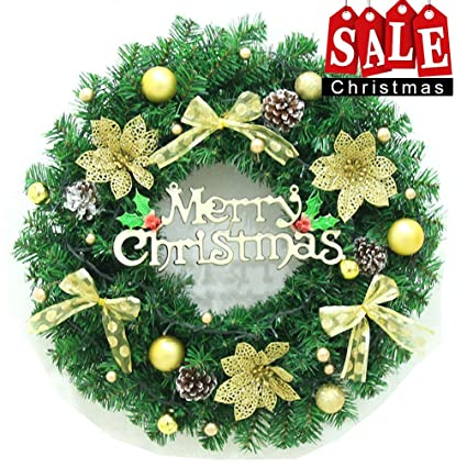 dolloly christmas wreath large front door wreath 24 inch wall garland decoration christmas party decor - Christmas Front Door Decor