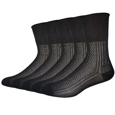 Mens Thin Socks Silk Sheer Trouser Sox Mid-Calf Dress Socks Cool For Summer 5 Packs (black, medium) at Amazon Men's Clothing store