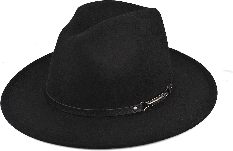 EINSKEY Womens Felt Fedora Hat, Wide Brim Panama Cowboy Hat Floppy Sun Hat  for Beach Church Black at Amazon Women's Clothing store