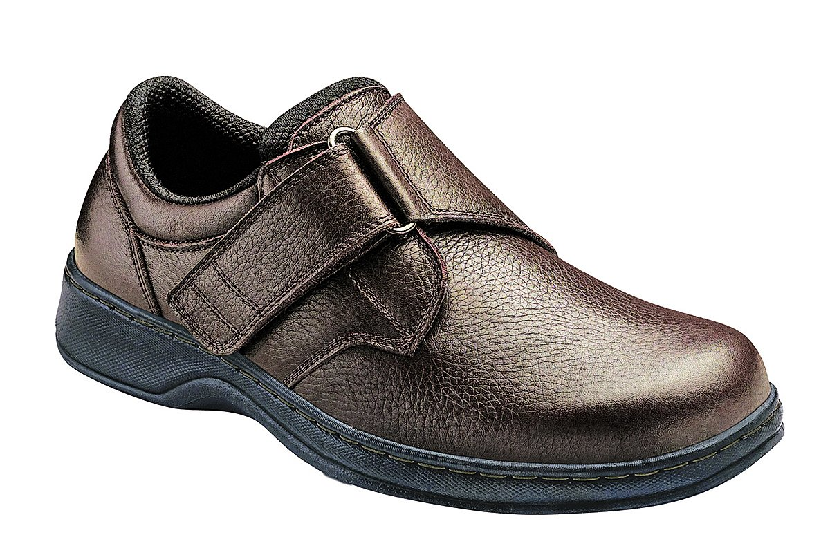 Orthofeet Pain Relief Arch Support Orthopedic Extra Wide Diabetic Arthritis Mens Strap Shoes Broadway Brown by Orthofeet
