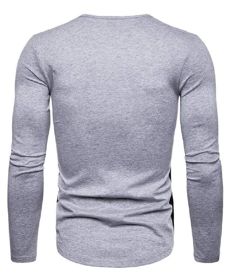 Hajotrawa Mens Contrast Color Crewneck Long Sleeve Basic Stretch Top Tee Shirts