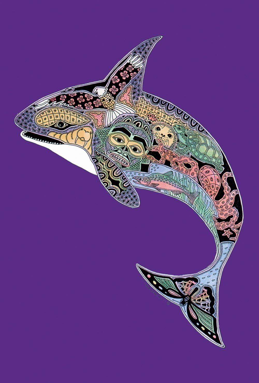 Toland Home Garden Animal Spirits Orca 28 x 40 Inch Decorative Native Spiritual Ocean Whale Sealife House Flag