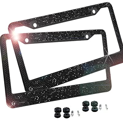 Zone Tech Shiny Bling License Plate Cover Frame - 2-Pack Classic Black Crystal Bling Premium Quality Novelty/License Plate Frame with Mounting Screws: Automotive