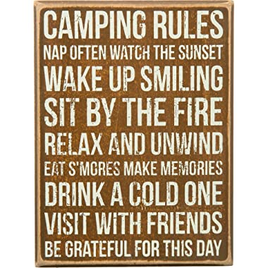 Primitives by Kathy Classic Box Sign, 6 x 8, Camping Rules
