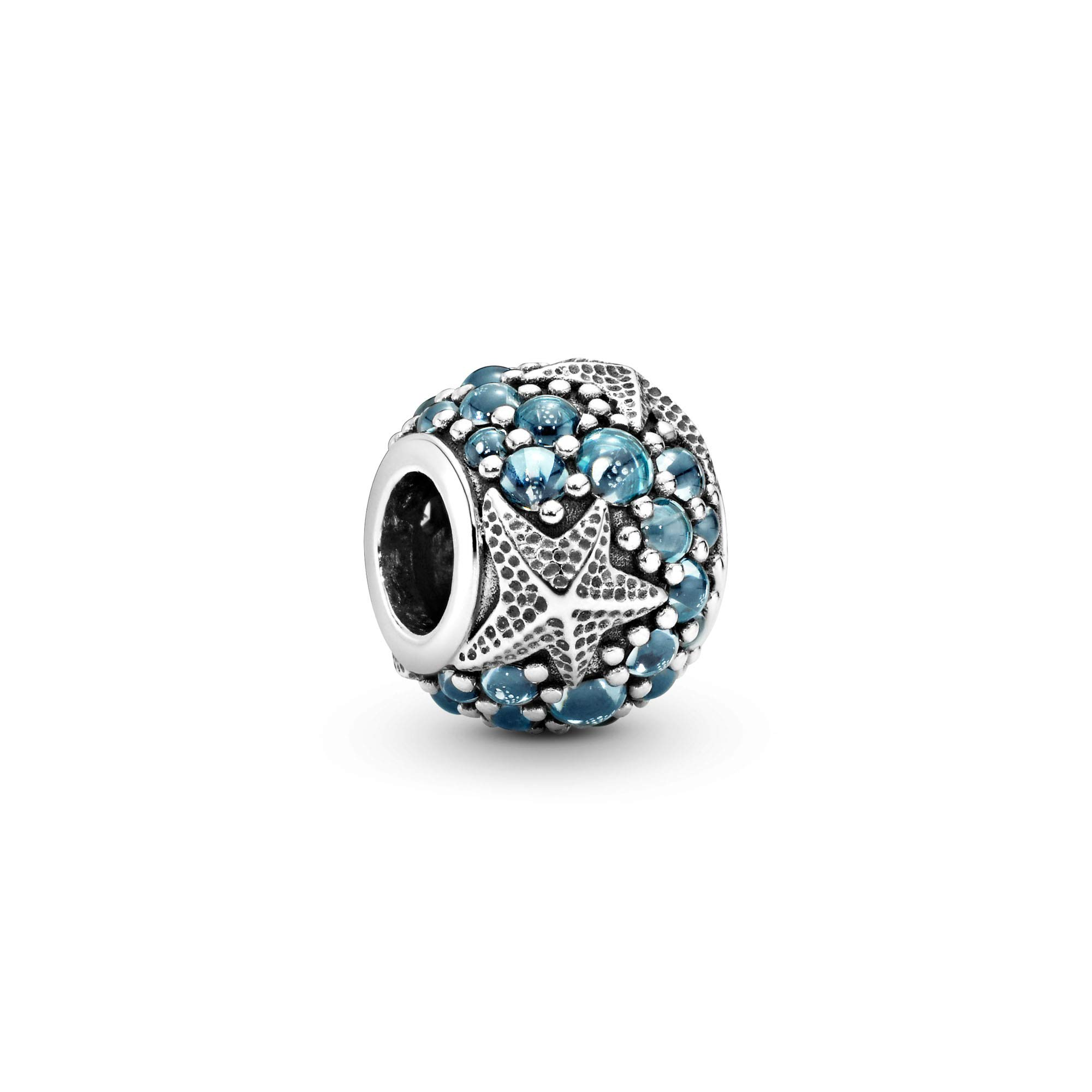 Jewelry Pave Ocean and Starfish Cubic Zirconia Charm in Sterling Silver