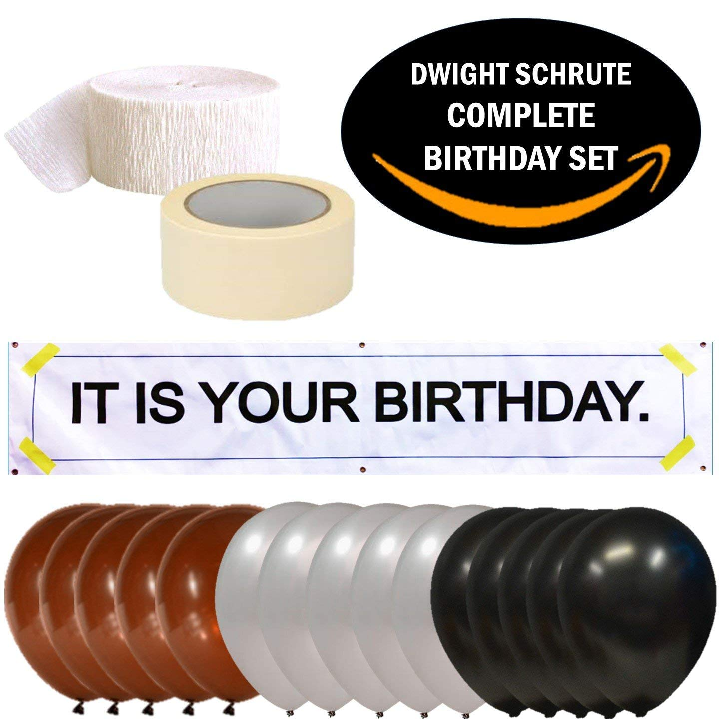 ''IT is Your Birthday.'' Dwight Schrute Complete Birthday Kit. Vinyl Banner, Balloons, Party Streamer and Tape. The Office Show 18 Piece Set