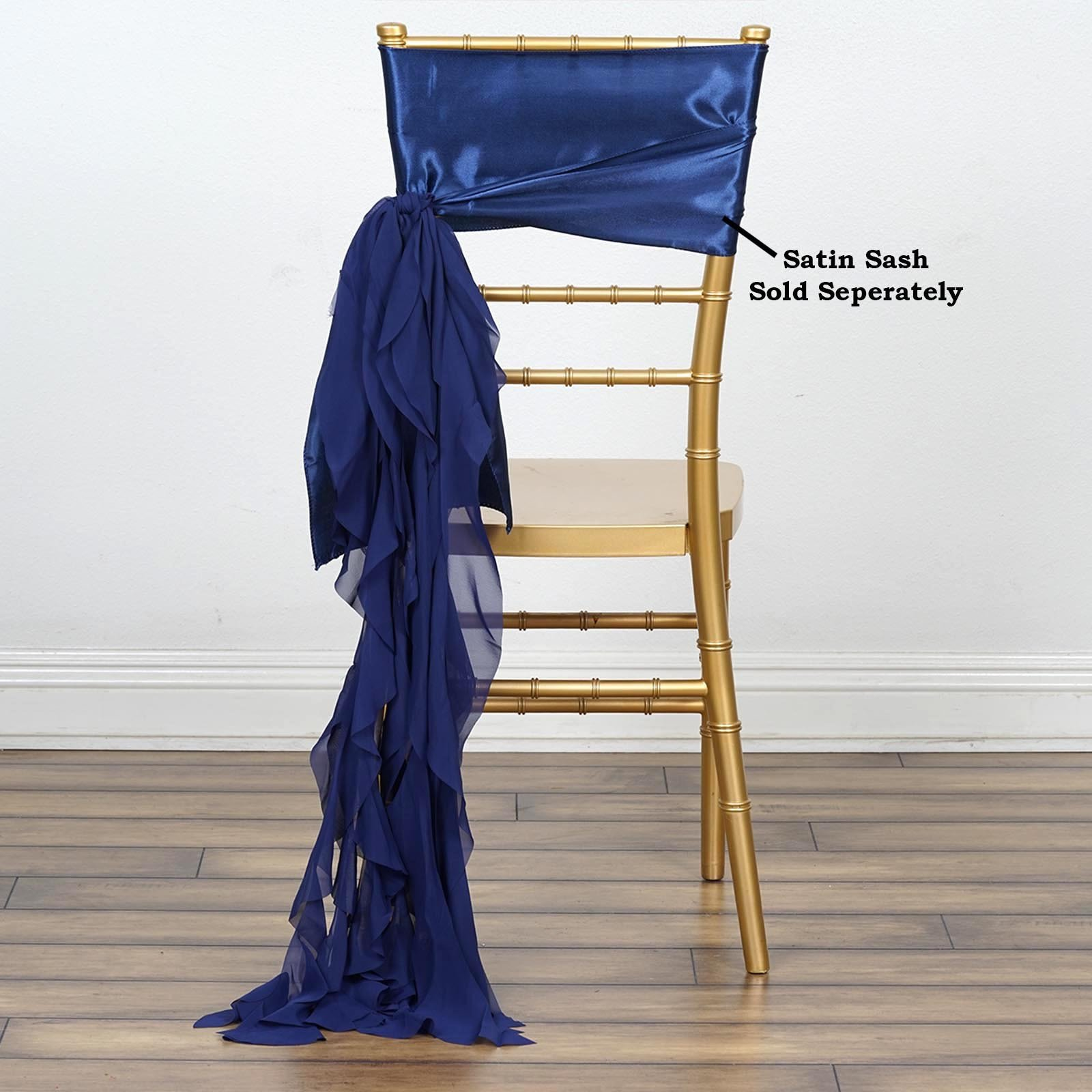 Efavormart Tableclothsfactory 5pcs Chiffon Navy Blue Curly Chair Sashes For Home Wedding Birthday Party Dance Banquet Event Decoration