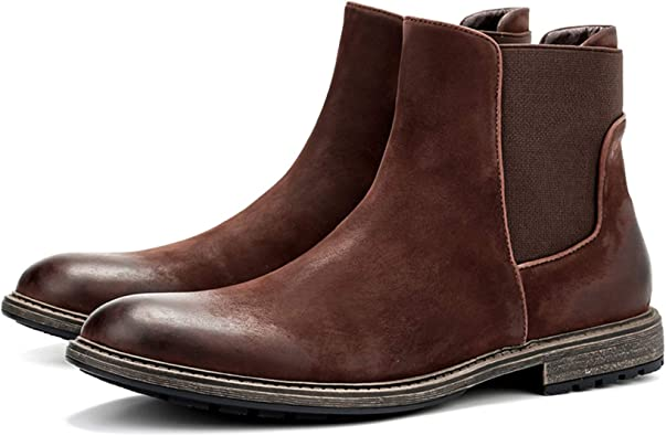 LOS CHOMO Suede Leather Chelsea Boots for Men Chukka Ankle Casual Boots