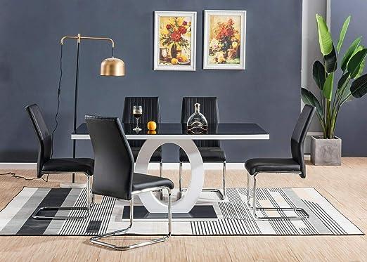 H Range UK Belgravia - Mesa de Comedor de Cristal Brillante con 6 ...