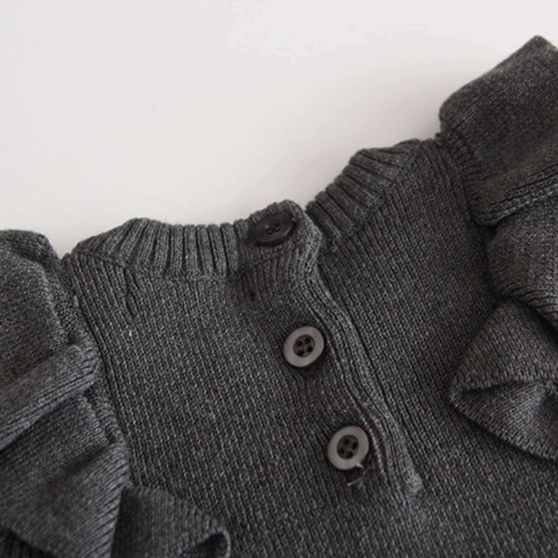 De feuilles Baby Strickkleider M/ädchen Rundhals Kleider Langarm Plisseekleider mit Volant Zopfmuster Herbst Fr/ühling M/ädchenkleidung