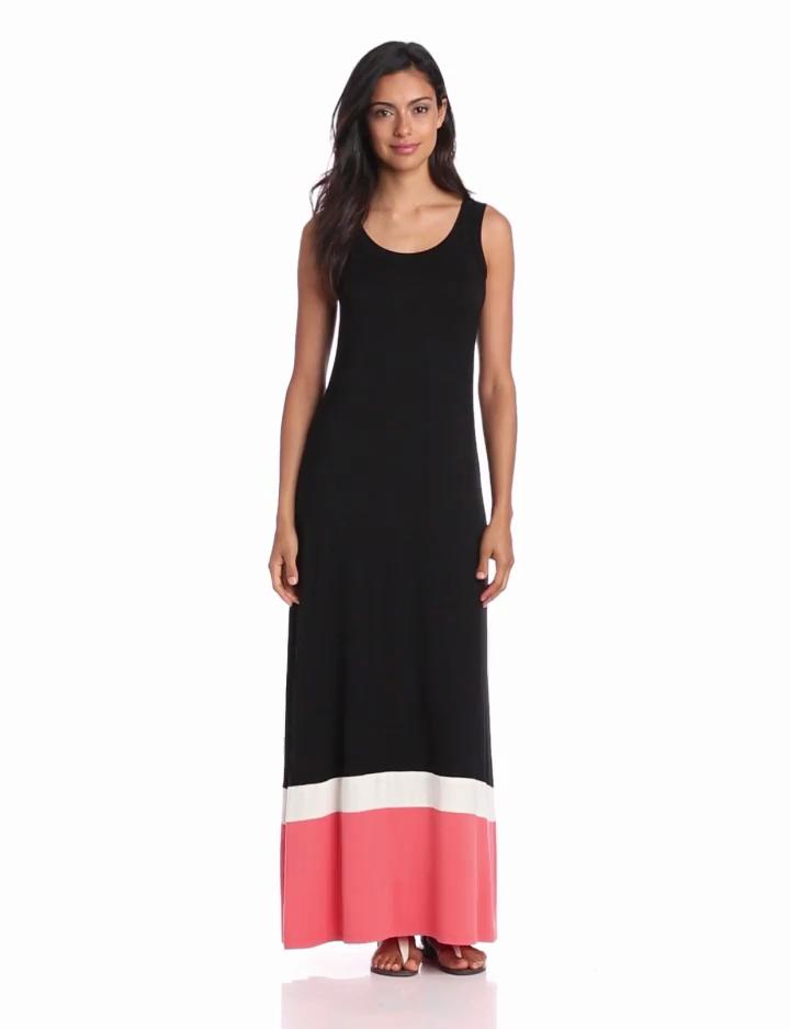 Karen Kane Womens Contrast Maxi Tank Dress, Multi, X Small